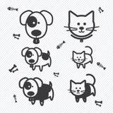 Iconos del gato y del perro Ilustración Imágenes de archivo libres de regalías