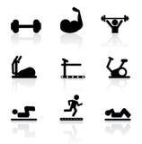 Iconos del gimnasio Fotos de archivo