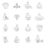Iconos del gimnasio de la aptitud del levantamiento de pesas Imagen de archivo libre de regalías