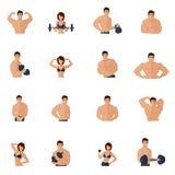 Iconos del gimnasio de la aptitud del levantamiento de pesas planos Imagen de archivo