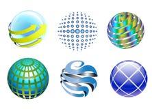 Iconos del globo de la tecnología 3D Fotografía de archivo