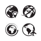 Iconos del globo fijados S?mbolos globales del vector del comercio de Internet del icono del perno del mapa de la tierra y del gl libre illustration