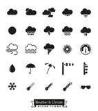 Iconos del glyph del tiempo y del clima fijados Fotografía de archivo