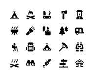 Iconos del Glyph que acampan stock de ilustración