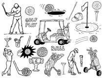 Iconos del golf Imagenes de archivo
