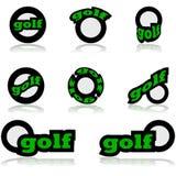 Iconos del golf stock de ilustración