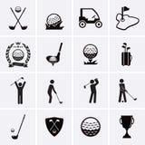 Iconos del golf Imagen de archivo libre de regalías
