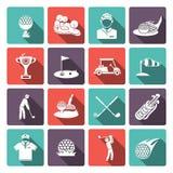 Iconos del golf fijados Imagen de archivo libre de regalías