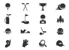 Iconos del golf fijados Imagenes de archivo