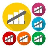 Iconos del gráfico de negocio fijados Fotografía de archivo libre de regalías