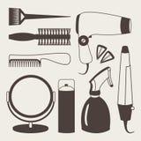 Iconos del gris de los accesorios del pelo y de las herramientas del peluquero Fotos de archivo libres de regalías