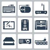 Iconos del hardware del vector fijados Imagenes de archivo