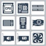 Iconos del hardware del vector fijados Imágenes de archivo libres de regalías