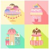 Iconos del helado fijados Imagen de archivo libre de regalías