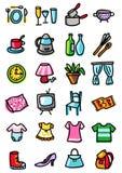Iconos del hogar y de la ropa Fotografía de archivo