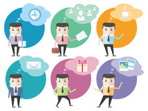 Iconos del hombre de negocios con las burbujas del diálogo Imágenes de archivo libres de regalías