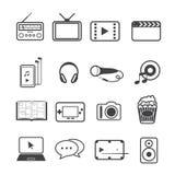 Iconos del home entertainment y de los dispositivos electrónicos fijados Foto de archivo
