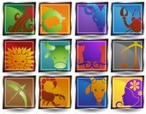 Iconos del horóscopo del zodiaco Fotografía de archivo libre de regalías