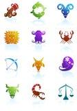 Iconos del horóscopo del zodiaco stock de ilustración