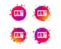 Iconos del horno de microondas Cocinero en estufa eléctrica Vector stock de ilustración