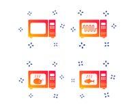 Iconos del horno de microondas Cocinero en estufa eléctrica Vector libre illustration