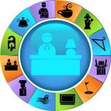 Iconos del hotel/botones - rueda Imágenes de archivo libres de regalías