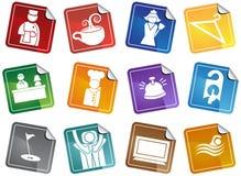 Iconos del hotel - conjunto de la etiqueta engomada Imagenes de archivo