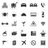 Iconos del hotel en el fondo blanco libre illustration
