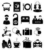 Iconos del hotel fijados Imágenes de archivo libres de regalías