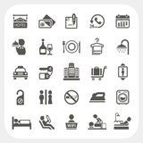 Iconos del hotel y de los servicios de hotel fijados Imagen de archivo