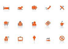 Iconos del hotel y del recorrido Foto de archivo