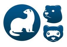 Iconos del hurón stock de ilustración