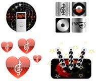Iconos del icono-Ilustración-vector de la música fotos de archivo libres de regalías
