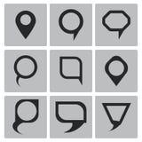 Iconos del indicador del mapa del negro del vector fijados Fotos de archivo