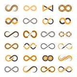Iconos del infinito Formas que contornean de los s?mbolos bicolores del vector de la eternidad libre illustration