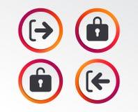 Iconos del inicio de sesión y de la salida del sistema Firme adentro el icono armario stock de ilustración