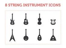 8 iconos del instrumento de la secuencia Fotografía de archivo libre de regalías