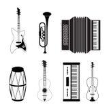 Iconos del instrumento musical Foto de archivo libre de regalías