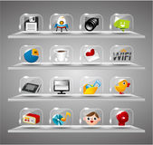 Iconos del Internet del Web site, botón de cristal transparente Imágenes de archivo libres de regalías