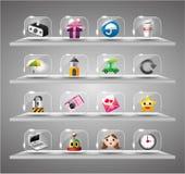 Iconos del Internet del Web site, botón de cristal transparente Imagen de archivo libre de regalías