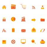Iconos del Internet, del Web y del comercio electrónico Imagen de archivo libre de regalías