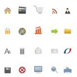 Iconos del Internet, del Web y del comercio electrónico Fotografía de archivo libre de regalías