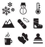 Iconos del invierno Imagen de archivo libre de regalías