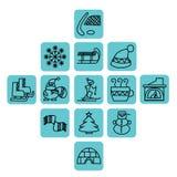 Iconos del invierno en cuadrados azules ilustración del vector