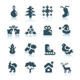 Iconos del invierno y de la Navidad Imágenes de archivo libres de regalías