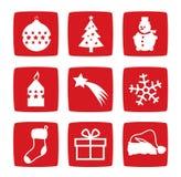 Iconos del invierno y de la Navidad Imagen de archivo