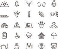 Iconos del invierno y de la Navidad Foto de archivo libre de regalías