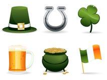 Iconos del irlandés del día del St. Patrick Fotografía de archivo libre de regalías