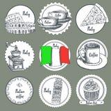Iconos del italiano del bosquejo Imágenes de archivo libres de regalías