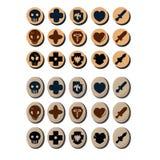 Iconos del juego Da?o, defensa, ataque, curar, golpear puntos ilustración del vector